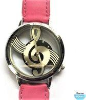 Horloge- G sleutel -Roze