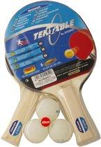 Atomic - Tentable - Tafeltennisbat set voor 2 spelers - Tafeltennis Bat set  - Tafeltennisset - Pong Bat set - Pacific 5 - Set van 2 Bats en 3 Ballen - Voor Beginners