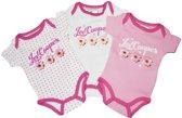 Meisjes rompertjes 3 pack set roze korte mouw maat 80