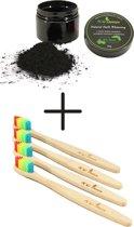 bamboe tandenborstel set 4-pack incl. teeth whitening - 60 gram ultrarfijn zwart poeder - natuurlijk & veilig tanden