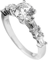 Diamonfire - Zilveren ring met steen Maat 18.0 - Solitaire - Deels bezette band