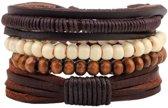 Leren armbanden set houten kralen Beige Bruin