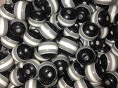 Acrylkralen gestreept 10mm - 200st Zwart-wit