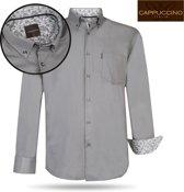 Cappuccino Italia - Heren Overhemd - Borstzakje - Donker Grijs - M