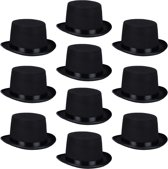relaxdays 10 x cilinderhoed one-size, hoge hoed tovenaars en Getleman, carnaval zwart