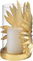Mascagni - Kaarsenstandaard/windlicht goudkleurig palmblad 24 cm - 20B 01475