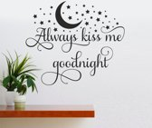 Muursticker - Always Kiss Me Goodnight - Zwart 58x68