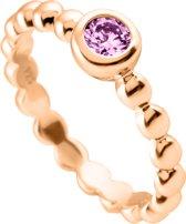 Diamonfire - Zilveren ring met steen Maat 18 - Signatures - Rosegoudverguld - Roze