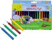Woezel & Pip set 16 korte dikke kleurpotloden met slijper