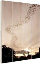 Grote groep vleermuizen Hout 60x80 cm - Foto print op Hout (Wanddecoratie)