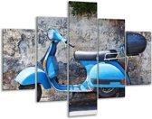Glas schilderij Scooter, Motor   Grijs, Blauw   100x70cm 5Luik   Foto print op Glas    F007170
