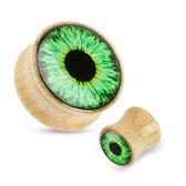 10 mm double-flared plug groene eyeball hout ©LMPiercings