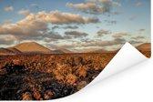 Het maanlandschap van het Nationaal park Timanfaya in Spanje Poster 60x40 cm - Foto print op Poster (wanddecoratie woonkamer / slaapkamer)