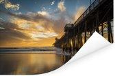 Zonsondergang bij de pier van San Diego in de Verenigde Staten Poster 60x40 cm - Foto print op Poster (wanddecoratie woonkamer / slaapkamer)
