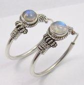 Natuursieraad -  925 sterling zilver maansteen bali hoops oorringen - Oorbellen Set - luxe edelsteen sieraad - handgemaakt