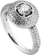 Diamonfire - Zilveren ring met steen Maat 17.5 - Pave bezette band en rand - Rond