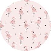 Vloerkleed rond | Flamingo junkie | 100cm