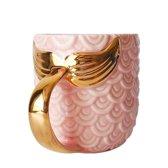 Luxe Keramische Mok met Gouden Zeemeermin Staart en Schubben - Roze - 420 ML - Koffie of Thee Kop