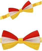 Luxe strikje rood/geel/wit