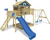 WICKEY Speeltoestel Smart Coast met schommel en blauwe Houten speelhuis met zandbak en klimladder voor kinderen