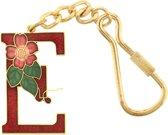 Behave® Sleutelhanger rood emaille letter E 4cm