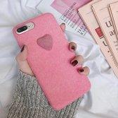 Telefoon hoesje met hartje - iPhone 7/8 PLUS - Roze - Valentijn - Valentijnsdag cadeau