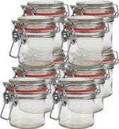 10x Mini weckpot/inmaakpot 100 ml met rode rubberen ring, klepdeksel en beugelsluiting - Kruidenpotjes - Weckpotten - Inmaakpotten - Voorraadbussen