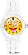 Colori Happy Smile 5 CLK078 Kinderhorloge met Tongue Emoticon - Siliconen Band - Ø 30 mm - Wit