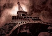 Fotobehang Paris Eiffel Tower Brown | XXXL - 416cm x 254cm | 130g/m2 Vlies