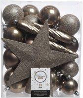 33x Kasjmier bruine kunststof kerstballen 5-6-8 cm - Mix - Onbreekbare plastic kerstballen - Kerstboomversiering bruin
