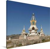 Blauwe lucht boven het Erdene Zuuklooster Canvas 80x60 cm - Foto print op Canvas schilderij (Wanddecoratie woonkamer / slaapkamer)