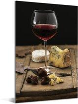 Rode wijn met kaas op een houten plank Aluminium 120x180 cm - Foto print op Aluminium (metaal wanddecoratie) XXL / Groot formaat!