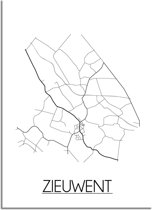 DesignClaud Zieuwent Plattegrond poster - A2 + fotolijst wit (42x59,4cm)