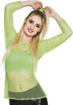 6 stuks: Visnet shirt - neon groen - Medium-Large