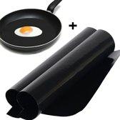 2 x Herbruikbare bakmatten + 2 x bakmatten rond anti-aanbak folie voor koekenpannen - BBQ - Barbecuemat - ovenmat