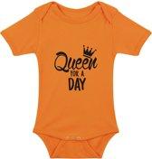 Baby rompertje Queen for a Day | Korte mouw 74/80 oranje
