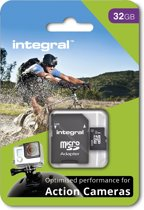 Integral Micro SDHC Geheugenkaart voor Action Cam 32GB  + SD Adapter Set