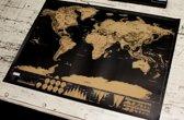 Kras wereldkaart / ScratchMap Deluxe | Zwart - Goud | REBL