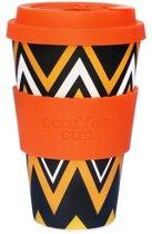 Ecoffee Cup Bamboe Beker - 400 ml ZignZag met Oranje Siliconen