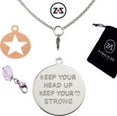 Pinkiezz munt ketting ster 'Keep Head Up'