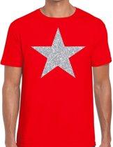 Zilveren ster glitter t-shirt rood heren - shirt glitter ster zilver M