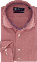 Sleeve7 Heren Overhemd Rood Allover Ruitjes Poplin Modern Fit - 45