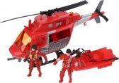 Jonotoys Brandweerhelikopter Met Accessoires 30 Cm Rood 4-delig