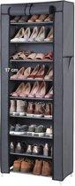 Schoenenkast met 10 Niveaus - tot 27 Paar Schoenen - 58cm breed en 160cm hoog - Grijs