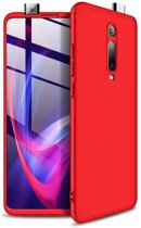 Teleplus Xiaomi Mi9T Case 360 Ays Hard Rubber Cover Red + Nano Screen Protector hoesje