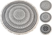 Vloerkleed donkergrijs 150X150CM - tapijt - rond - etnische oosterse tapijt - met franjes - 1 stuk