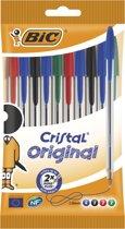 Balpennen Cristal BIC assortie: 10 stuks (830865)