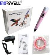 3D Pen MyRiwell Advanced RP100B 3D pen met LCD scherm voor ABS en PLA - Kleur Roze