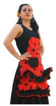 Spaanse schort - Flamenco - keukenschort rood zwart verkleedkleding