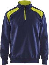 Blåkläder 3353-1158 Sweatshirt Bi-Colour met halve rits Marineblauw/Geel maat XS